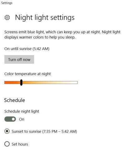Windows 10 Night Light Settings